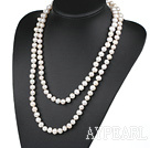 Wholesale fashion long style 47.2 inches 9-10mm white pearl necklace