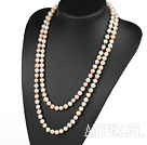 Wholesale fashion long style 47.2 inches 9-10mm white and pink pearl necklace