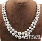 Two Rows Round White Seashell Beads Graduated Necklace