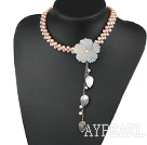 Wholesale bridal jewelry real pearl choker with flower and leaf charm