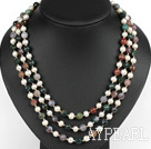 three strand white pearl and india agate necklace with shell flower clasp