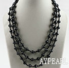 Wholesale three strand 17.7 inches black crystal necklace with shell flower clasp