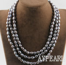 Wholesale three strand 17.7 inches 8-9mm gray fresh water pearl necklace