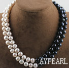 double strand 17.3 inches 10-11mm black and white fresh water pearl necklace