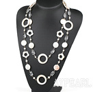 Wholesale 51.2 inches white pearl crystal and flower shell necklace