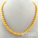Wholesale 8-9mm Round Yellow Dyed Freshwater Pearl Beaded Necklace