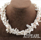 Multi Strands White Freshwater Pearl and Teeth Shape Pearl Necklace