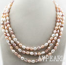Three Strands White Pink Purple Freshwater Baroque Pearl Necklace
