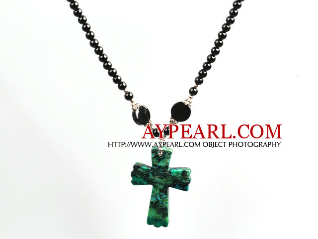 Black Agate and Phoenix Corss Pendant Necklace