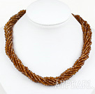 Wholesale 17.7 inches multi strand 4mm red brown crystal necklace with magnetic clasp