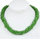 Wholesale 17.7 inches multi strand 4mm green crystal necklace with magnetic clasp