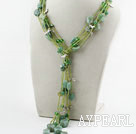 Wholesale Green Series Multi Strands Aventurine and Green Pearl Crystal Necklace