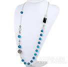 Wholesale metal jewelry hot blue agate and metal ball charm necklace