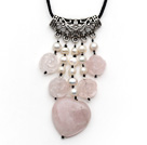 beautiful pearl rose quartze necklace with extendable chain