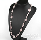 Wholesale 31.5 inches round and heart shape rose quartze necklace