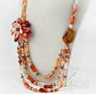 Wholesale Assorted Pearl and Natural Color Agate Flower Party Necklace