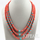 elegant three strand coral and turquoise necklace