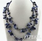 39.4 inches long style sodalite and pearl necklace