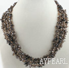 17.7 inches multi strand finely carved smoky quartze necklace with gem clasp