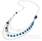 Wholesale metal jewelry hot design faceted blue agate and metal ball charm necklace