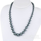 Wholesale fashion black sea shell graduated beaded necklace with moonlight clasp