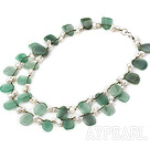 beautiful double strand white pearl and aventurine necklace