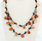 Wholesale handmade double strand pearl and agate necklace with lobster clasp
