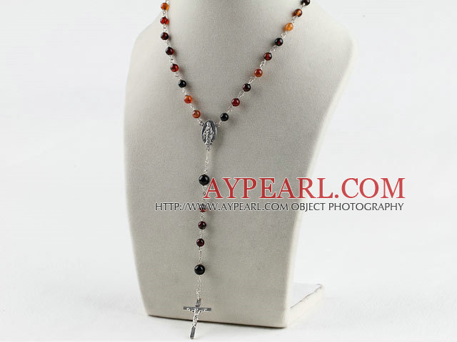 31.5 inches prayer beads, 6-8mm agate necklace rosary with cross