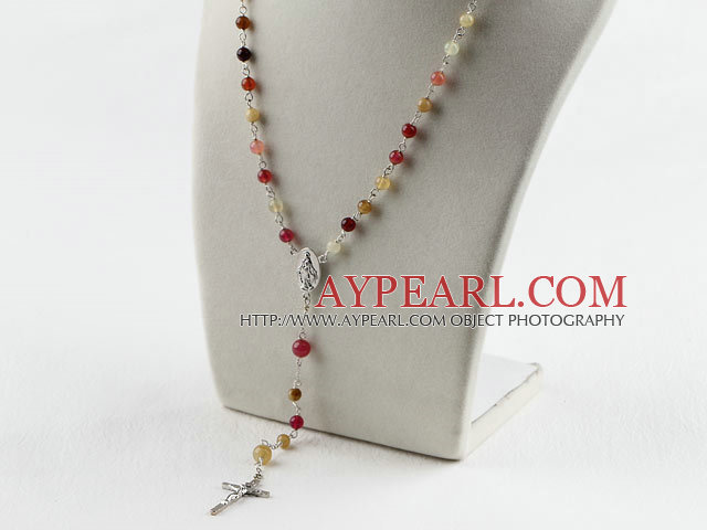 31.5 inches prayer beads, 6-8mm three color jade necklace rosary with cross