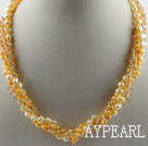 Wholesale 17.7 inches multi strand yellow pearl and crystal necklace with magnetic clasp