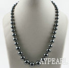 gray black color sea shell beads graduated necklace