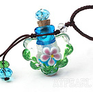 Simple Style Flower Shape Colored Glaze Perfume Bottle Pendant Necklace (Color Random and The Thread Can Be Adjusted)