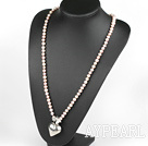 Wholesale 27.6 inches Y shape natural purple pearl necklace with heart charm, butterfly clasp