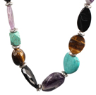 Chunky Stil Assorted Amethyst und Türkis und Tiger Eye Necklace