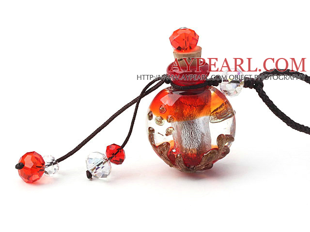 Simple Style Common Shape Colored Glaze Perfume Bottle Pendant Necklace (Color Random and The Thread Can Be Adjusted)