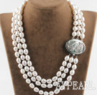 Wholesale decent three strand white pearl necklace with beauty clasp