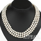 Wholesale graceful three strand white pearl necklace with gold color clasp