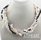 Wholesale White Teeth Shape Freshwater Pearl and Clear and Black Crystal and White Shell Flower Necklace
