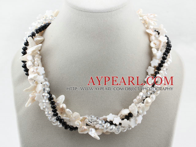 White Teeth Shape Freshwater Pearl and Clear and Black Crystal and White Shell Flower Necklace