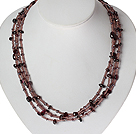 Multi Strands Garnet and Crystal Necklace