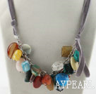 Wholesale Sale Promotion: Assorted Multi Stone Necklace with Gray Cord