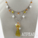 Wholesale New Design Pearl Crystal and South Korea Jade Necklace