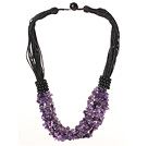 multi strand 6-7mm amethyst chips necklace