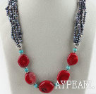 19.7 inches fashion pearl red coral and turquoise necklace