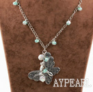 New Design White Coin Pearl and Crystal and Butterfly Metal Pendant Necklace