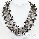 Wholesale Multi Strand Pearl and Smoky Quartz and Flashing Stone Necklace