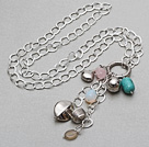 Assorted Multi Stone and Tibet Silver Accessories Pendant Necklace with Metal Chain