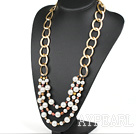 Wholesale New Design Pearl and White Seashell Party Necklace with Golden Color Chain