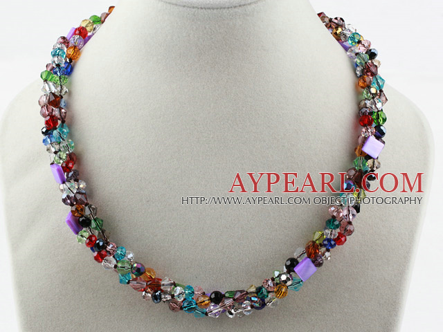Multi Strands Multi Color Crystal Necklace with Magnetic Clasp