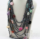 Wholesale Mulit Strand Black Freshwater Pearl and Multi Stone Necklace